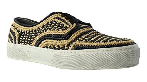 Robert Clergerie Women's Teba Fashion Sneaker, Black/Natural Rafia, 39 EU/8.5 B US
