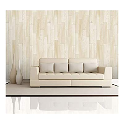 Fascinating Style, Made For You, Vertical Cream and Soft Yellow Wood Textured Paneling Wall Mural Removable Wallpaper