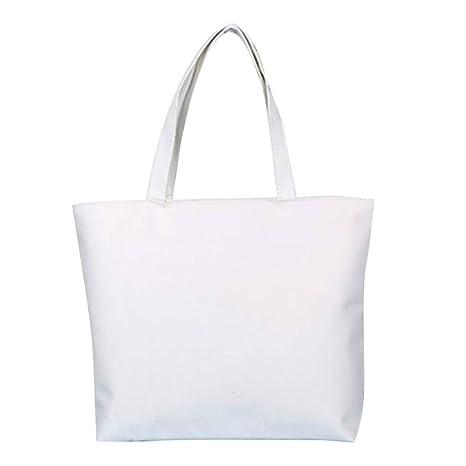 Scrox 1pcs Bolsas de Tela Cremallera Tote Bag Original Color sólido Bandolera Mujer Bolsa Reutilizable Compra Bolsa de Almacenamiento (Blanco)