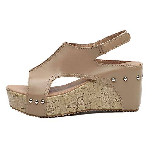 Londony ◈ Women's Cutout Belt Wedges Sandals Platform Faux Leather Cork High Heels Summer Flatform Sandal Khaki ()