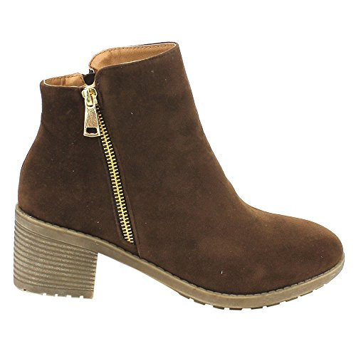 Size 9 Side Plain Ankle Brown Booties Color Zipper DE02 Heel Women's Stacked BESTON qgxwAPfSf