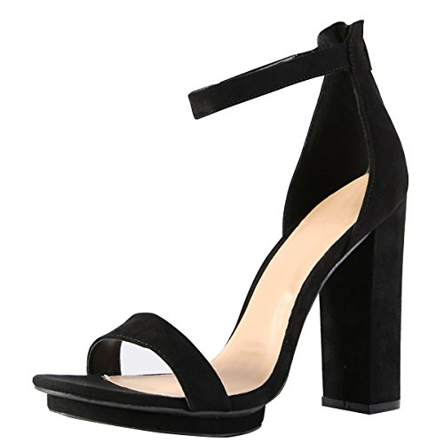Wild Diva Womens Open Toe High Chunky Heel Ankle Strap Platform Sandal Pumps Shoes 7.5 Black