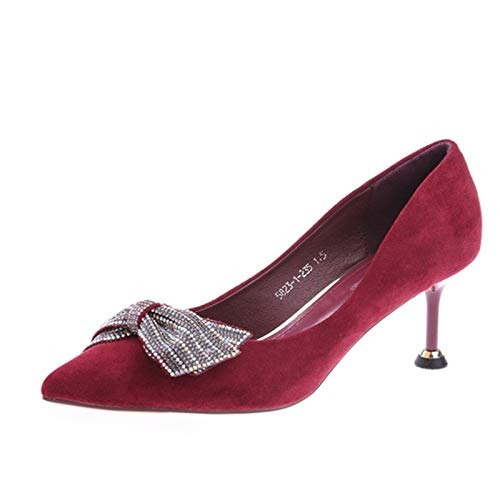 With Pink Red Pointed High Pu Shoes Shoes Yukun Versatile Wine Heels Thick 38 High Style Single Buckle Women'S Spring heels 8qxTdzU