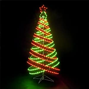 120cm/4ft Outdoor & Indoor Red & Green 456 LED Spiral Tape Pop-up ...