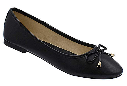 Womens Casual Comfortable Chic Canvas Flat Ankle Strap Shoe Ballet Flat Brown Flats Faux Leather with Bow