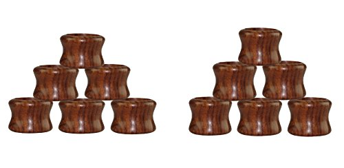 Cotton Craft - 12 Pack Sheesham Wood Napkin Ring Set - Width 1.5 Inch Antique Brown - Hand Made by Skilled artisans - A Beautiful complement to Your Dinner Table décor