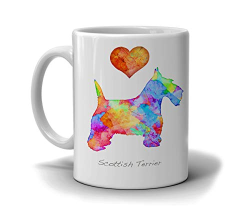 Scottish Terrier Dog Breed Mug by Artist Dan Morris, Personalize with Dog Name, Two Sizes