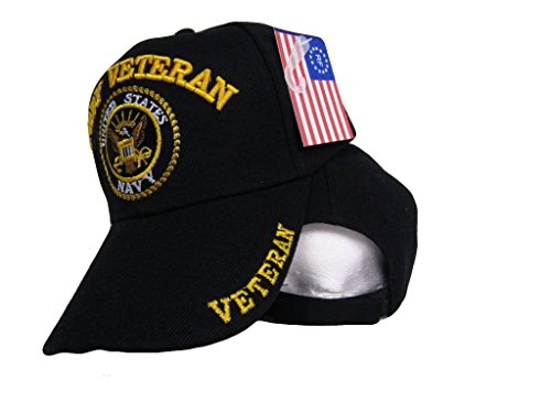 Black US Navy Veteran Ball Cap Baseball 3D Embroidered Hat U.S. Navy 402B Black 3d Embroidered Hat