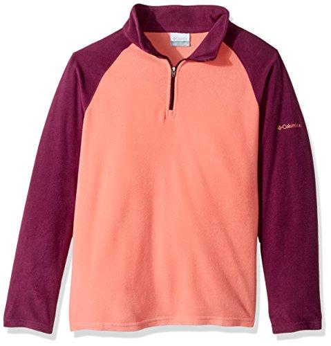 Columbia Big Girls' Glacial Fleece Half Zip Jacket, Hot Coral, Dark Raspberry, (Zip Pullover Hot Jacket)