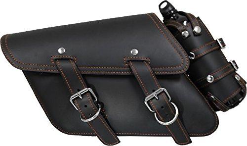 All H-D XL Left Side Black Leather Bolt-On Saddle Bag with Fuel Bottle Holder - Orange Thread (Left Saddlebag)