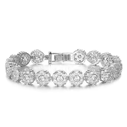 KIVN Fashion Jewelry Classic CZ Cubic Zirconia Flower Bridal Wedding Bangle Bracelets for Women
