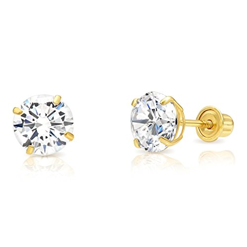 14k Yellow Gold Cubic Zirconia Stud Earrings with Screw Backs (6mm) ()