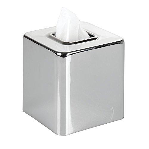 Tissue Dispenser Bathroom Chrome (mDesign Modern Square Metal Paper Facial Tissue Box Cover Holder for Bathroom Vanity Countertops, Bedroom Dressers, Night Stands, Desks and Tables - Chrome)