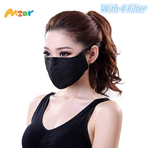 Mzar N95 Pollution Respirator Dust Mask With 4 Filter,Layer Protection from Exhaust Gas Anti Pollen Allergy Washable Environmentally Friendly PM2.5 Half Face Mask Men Women (Cotton Mask)