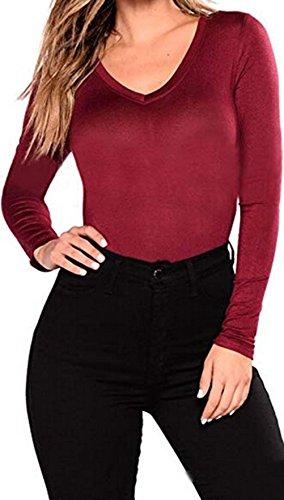 Blouse Blend (Ursmartt Women's Plain Basic Long Sleeve Shirt Cotton Blend V Neck Slim Fit Athletic Fitted Blouse Top (XXL, Wine Color))