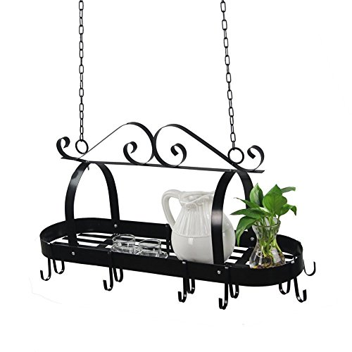 Hindom Pot Rack Ceiling Mount Cookware Rack, Decorative Oval Pan Rack Hanging Hanger Organizer with 10 Hooks, Great for Home Restaurant Kitchen Utensils, Wrought-Iron, Black (US STOCK) - Pot Small Iron Rack
