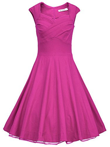 MUXXN Women 1950s Vintage Retro Capshoulder Party Swing Dress (3XL Rose)