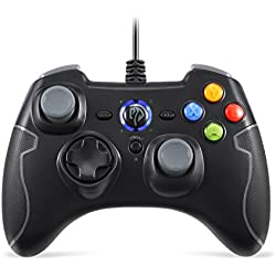 EasySMX Wired Game Controller Joystick with Dual-Vibration TURBO and TRIGGER Buttons for Windows/ Android/ PS3/ TV Box(Black and Gray)
