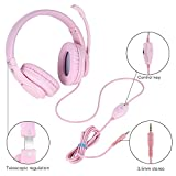 Gaming Headset with mic for PS4, Xbox one, PC, Computer, Kearui 3.5mm Wired Stereo Sound Over Ear [ One Key Mute ] Headphones with Noise Isolation for Fortnite/PUBG/God of War (Pink)