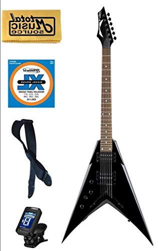 Dave Mustaine V Classic Black Electric Guitar FREE Strings Tuner Strap,VMNTX CBK PACK Florida Sunshine Store