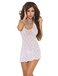 Elegant Moments Women's Lace Babydoll Nightgown (One Size, White)