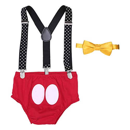 YiZYiF Baby Boys Adjustable Y Back Elastic Strong Clip Suspenders Cake Smash Outfits First Birthday Bloomers Clothes Set Red 12-18 -