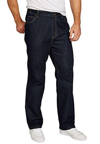 (Liberty Blues Men's Big & Tall Loose Fit Side Elastic 5-Pocket Jeans, Dark)