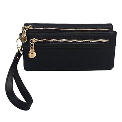 Women's Wristlet Wallet FanCarry PU Leather Clutch Purse Card Organizer w/ Front Zipper Pockets