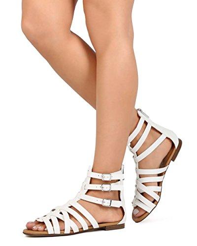 Breckelles EC27 Women Leatherette Open Toe Criss Cross Zip Gladiator Sandal White 4VsOa