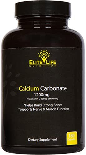 Calcium Carbonate - 1200mg with Vitamin D 25mcg (1000IU) - The Best Calcium Supplement for Women and Men - Pure, Natural, Bioavailable and Highly Absorbable Calcium for Healthy Bones - 180 Capsules