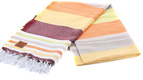 Gold Case OLYMPOS 100% Cotton pestemal - 2 Packed Set - Bath & Beach Multi Purpose Towel/Throw - 39x70(100x180cm) Peshtemal, Orange ()