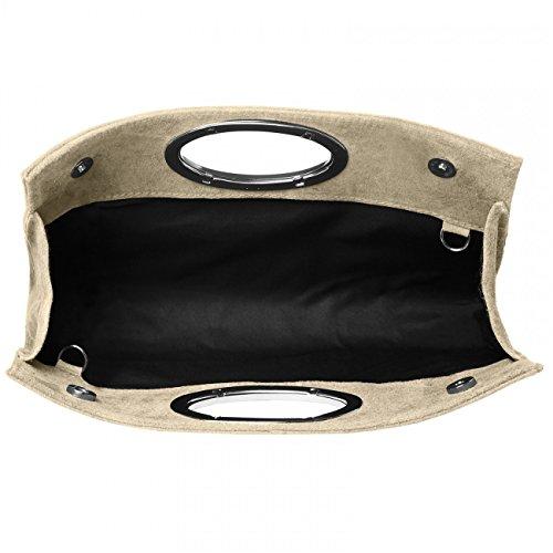 Pelle Manico Scamosciata Beige Donna TL699 CASPAR con di Pochette in Metallo I7nw0