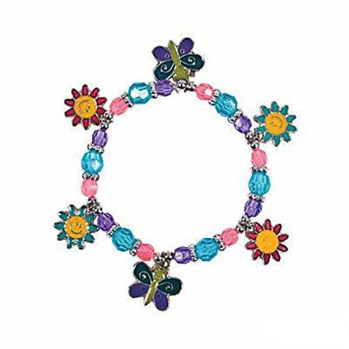 Oriental Trading Company Beaded Bracelets (Beaded Butterfly & Daisy Charm Bracelet Craft Kit - Crafts for Kids & Jewelry Crafts)