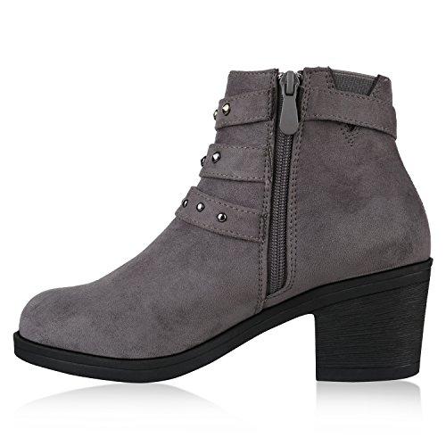Stiefelparadies Damen Stiefeletten Chelsea Boots Blockabsatz Profilsohle Schuhe Flandell Grau Nieten