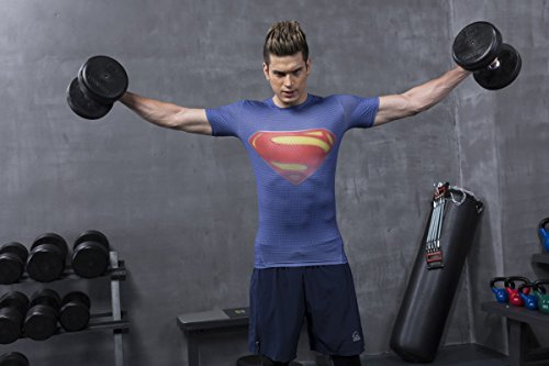 Red Plume Men's Compression Tights Fitness Shirt,Casual Quick-Dry Sports T-Shirt (S) by Red Plume (Image #3)