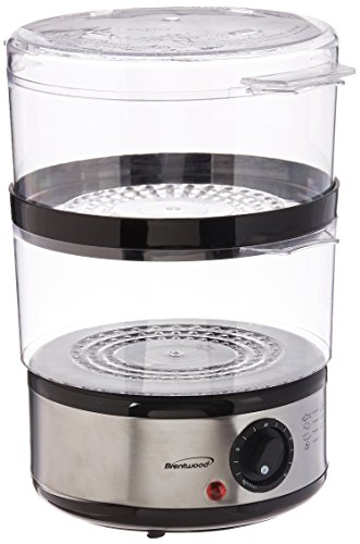 Brentwood TS-1005 Electric Food Steamer, 5 Quart, Stainless Steel