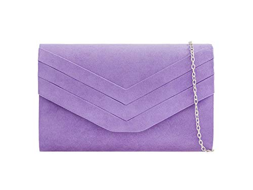 Womens New Faux Suede Decorated Flap Chain Party Clutch Bag Handbag Lilac