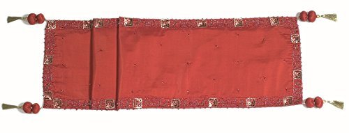 Arcadia Home RS0900 Silk with Beaded Berry Table Runner, Red