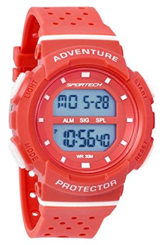 SPORTECH Women's/Girls'   Red & White Digital Water-Resistant Sports Watch   SP12703 by Sportech