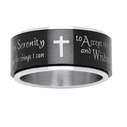 Palm Beach Jewelry Serenity Prayer Black Ion-Plating and Stainless Steel Cross Spinner Ring Size 10