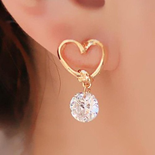 Hemlock Women Lady Shinning Crystal Pendant Earrings Ear Stud (Gold-4)