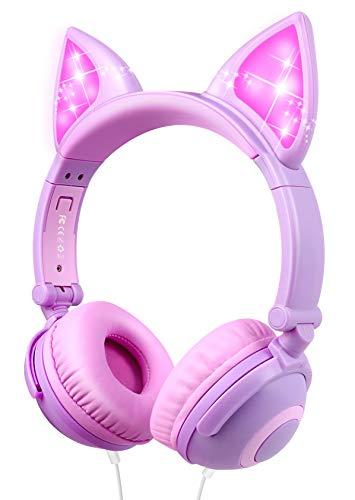 Cuffie per Bambini con Orecchie, Cuffie Over Ear con Filo per Ragazze e Ragazzi con luci LED, 85db, Auricolare Pieghevole Compatibile con iPhone, Samsung, PC
