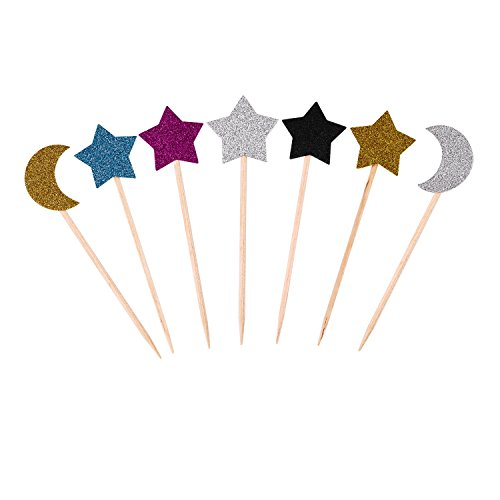 35 Pieces glitter sparkling wedding cupcake toppers multicolor moon star Birthday Cupcake Toppers celebration decor cake Toppers Baby Shower for Birthday Cake Snack Decorations Picks Party Accessories