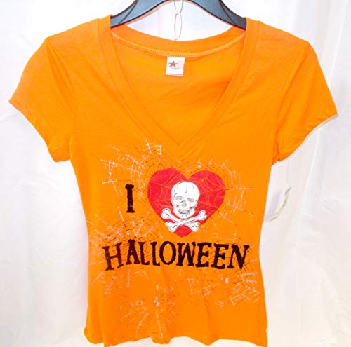 I Love Halloween Skull Heart Spiderwebs Short Sleeve Tshirt Costume S NWT