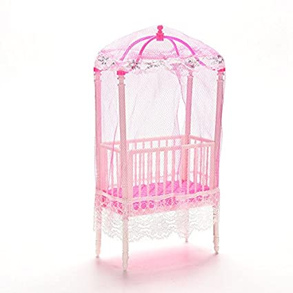 Dengguoli 1 Pc Fashion Baby Doll Bed and Crib Bedroom Accessories with  Mosquito Net for Mini Doll Girls