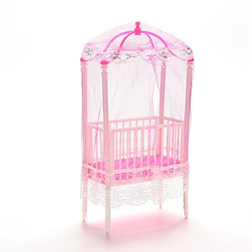Doll Crib Bed (Supershopping 1 Pc Fashion Baby Doll Bed and Crib Bedroom Accessories with Mosquito Net for Barbie Girls)