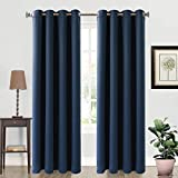 navy blue bedroom 99% Blackout Curtains Thermal Insulated Grommets Drapes for Living Room (2 Panels, 52 by 84 Inch Navy Blue)
