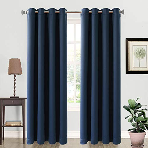 99% Blackout Curtains Thermal Insulated Grommets Drapes for Living Room (2 Panels, 52 by 84 Inch Navy Blue)