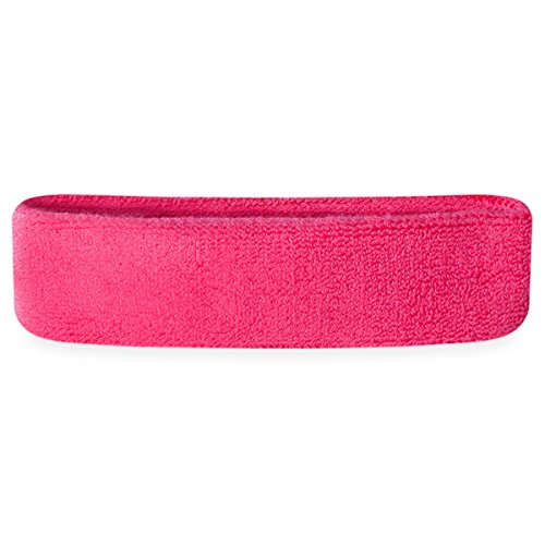 Suddora Kids Headband (Multiple Colors Available)Athletic Cotton Terry Cloth Head Sweatband for Sports (Neon Pink)