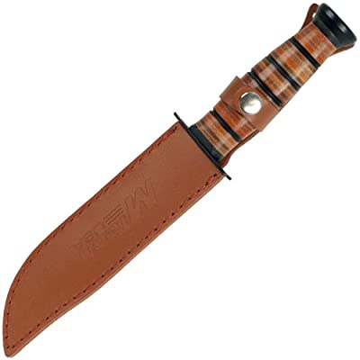 M-tech Usa Leather Ribbed Stainless Steel Survival Knife